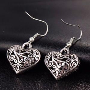 2/$20! Antiqued Silver 3D Heart Earrings